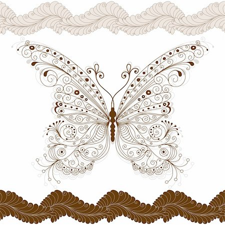 Seamless floral pattern with big vintage brown butterfly (vector) Stock Photo - Budget Royalty-Free & Subscription, Code: 400-05915357