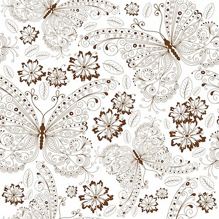 Repeating white floral pattern with vintage brown butterflies and flowers (vector) Stock Photo - Budget Royalty-Free & Subscription, Code: 400-05915464