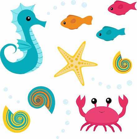 simsearch:400-04638538,k - Set of sea life: seahorse, fish, shell, starfish, crab Stock Photo - Budget Royalty-Free & Subscription, Code: 400-05916696