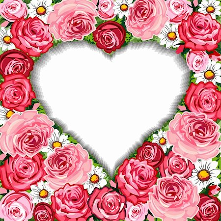 Vector illustration of romantic red and pink roses background with heart shaped frame Stock Photo - Budget Royalty-Free & Subscription, Code: 400-05916976
