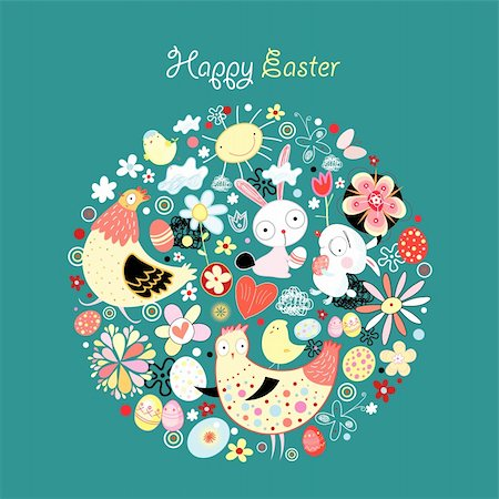 graphical greeting card with Easter bunnies and chickens and eggs on a dark blue background Stock Photo - Budget Royalty-Free & Subscription, Code: 400-05916982