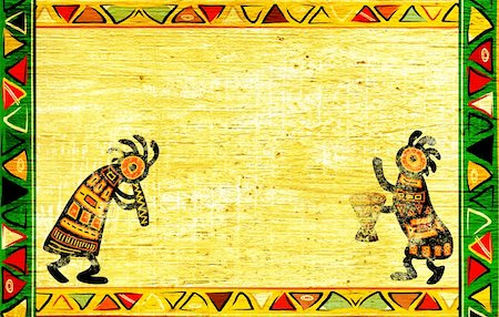 Dancing musician. Grunge background with African traditional patterns Stock Photo - Budget Royalty-Free & Subscription, Code: 400-05917165