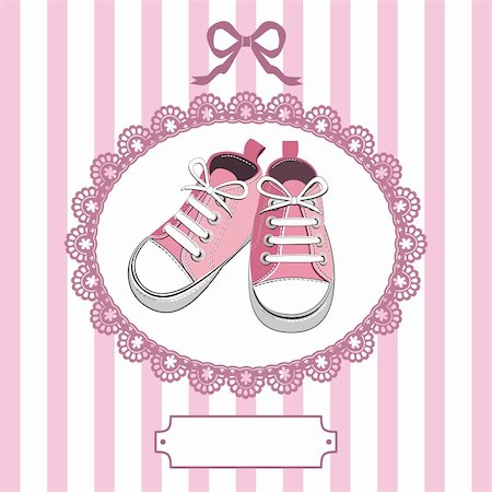 Pink shoes or pair kids sneaker background, oval lace frame, ribbon and shield for you text Stock Photo - Budget Royalty-Free & Subscription, Code: 400-05917368