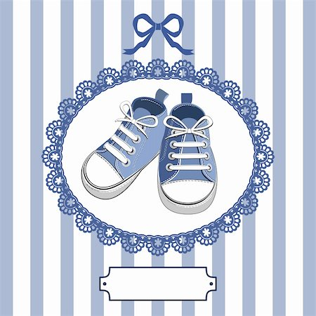 elakwasniewski (artist) - Blue shoes or pair kids sneaker background, oval lace frame, ribbon and shield for you text Stock Photo - Budget Royalty-Free & Subscription, Code: 400-05917360