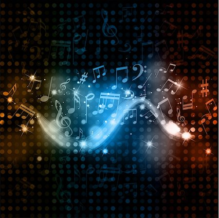 Music notes on a glowing lights background Stock Photo - Budget Royalty-Free & Subscription, Code: 400-05917569