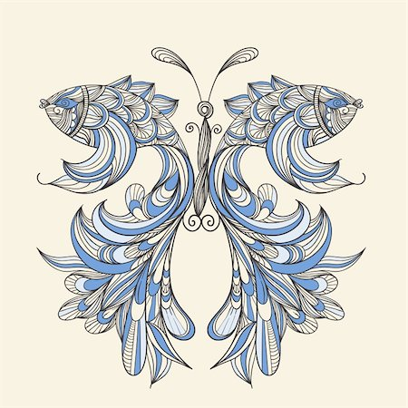 vector concept butterfly with wings - fishes, fishes can be used separately Stock Photo - Budget Royalty-Free & Subscription, Code: 400-05917618