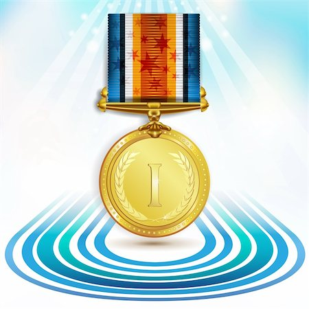 Gold medal with ribbon over sky background Stock Photo - Budget Royalty-Free & Subscription, Code: 400-05917744