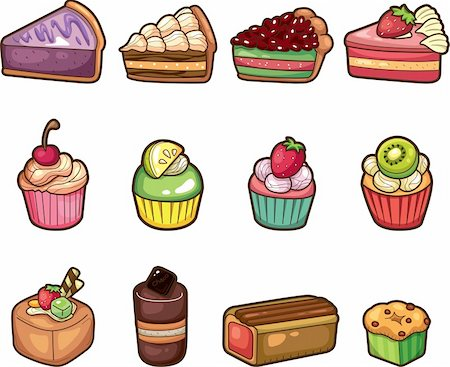 cartoon cake icons set Stock Photo - Budget Royalty-Free & Subscription, Code: 400-05917960