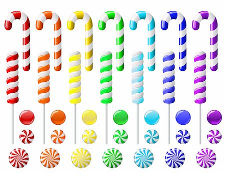 red circle lollipop - Vector set with colorful candies on white background Stock Photo - Budget Royalty-Free & Subscription, Code: 400-05918017