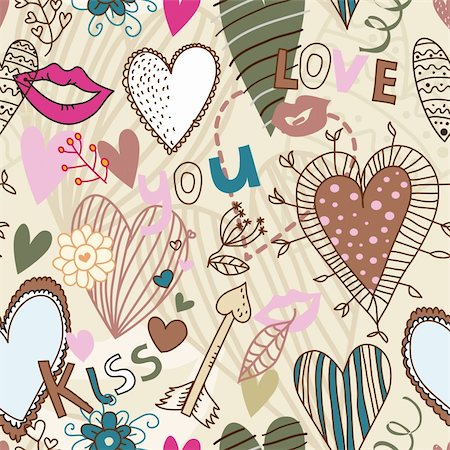 Retro seamless pattern with hearts, flowers and kisses Stock Photo - Budget Royalty-Free & Subscription, Code: 400-05918516