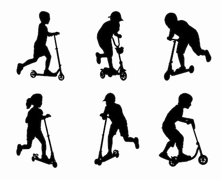 sports scooters - children scooting silhouettes - vector illustration Stock Photo - Budget Royalty-Free & Subscription, Code: 400-05918563