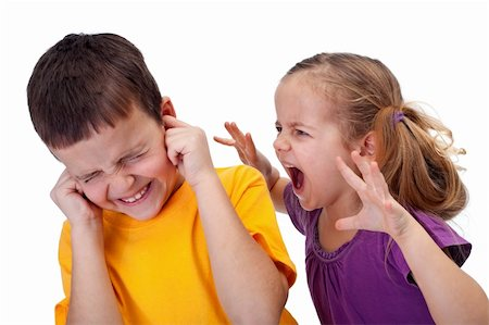 enemy - Little girl shouting in anger to a boy - raging kids Stock Photo - Budget Royalty-Free & Subscription, Code: 400-05919468