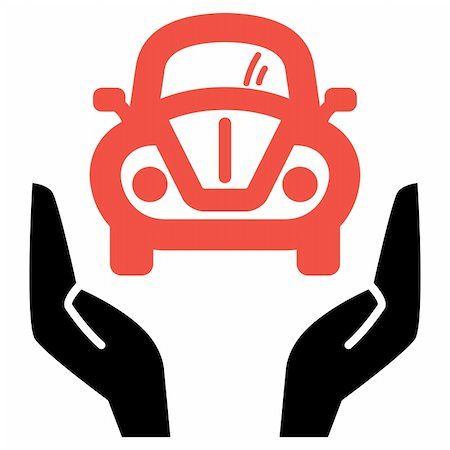 Hands holding red retro car, vector icon Stock Photo - Budget Royalty-Free & Subscription, Code: 400-05919569