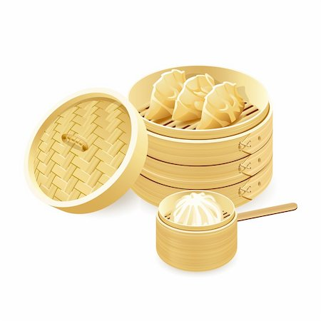 dumplings steamer - Bamboo steamers with gyoza and baozi dumplings Stock Photo - Budget Royalty-Free & Subscription, Code: 400-05919669