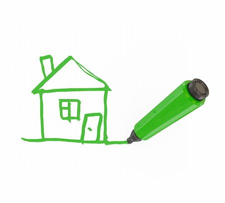 education loan - Green marker pen drawing a house. Isolated on white.3d rendered. Stock Photo - Budget Royalty-Free & Subscription, Code: 400-05919955
