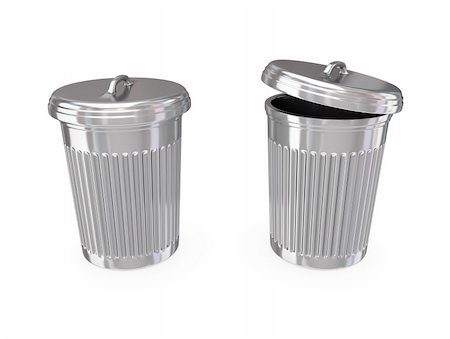 Chromed dustbin. 3d rendered.Isolated on white background. Stock Photo - Budget Royalty-Free & Subscription, Code: 400-05919958