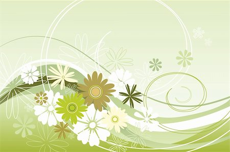 flower clipart paint - Vector illustration floral theme in green Stock Photo - Budget Royalty-Free & Subscription, Code: 400-05910140