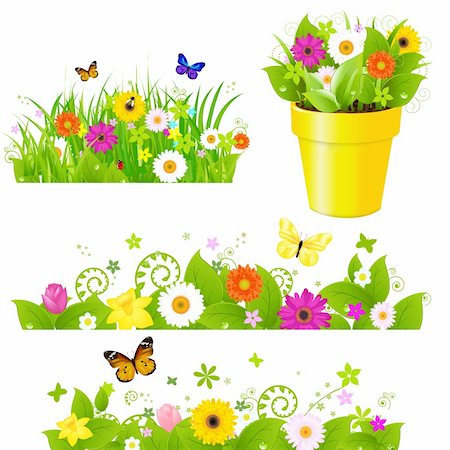 Green Grass With Flowers Set, Isolated On White Background, Vector Illustration Stock Photo - Budget Royalty-Free & Subscription, Code: 400-05910219