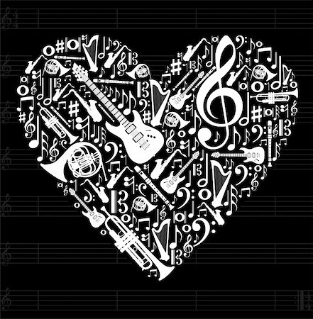 swirl graphic score - Love for music concept illustration. High contrast musical instruments icon set in heart shape background. Vector file available. Stock Photo - Budget Royalty-Free & Subscription, Code: 400-05910279