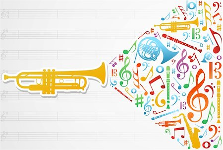 Multicolored music instruments silhouette and elements over pentagram composition background. Vector file available. Stock Photo - Budget Royalty-Free & Subscription, Code: 400-05910281