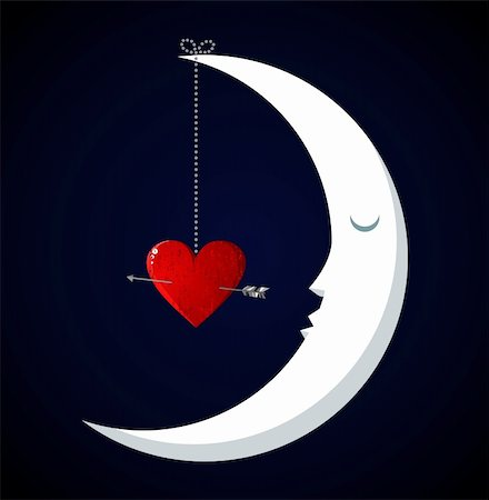 Happy Moon Fall in love Valentines day concept background. Vector file available. Stock Photo - Budget Royalty-Free & Subscription, Code: 400-05910294