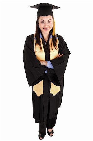 Stock image of female graduate isolated on white background, high angle shot Stock Photo - Budget Royalty-Free & Subscription, Code: 400-05910338