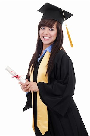 Stock image of female graduate isolated on white background Stock Photo - Budget Royalty-Free & Subscription, Code: 400-05910339