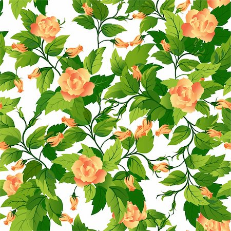 rose vector - Beautiful seamless background with orange roses and green leafs. Stock Photo - Budget Royalty-Free & Subscription, Code: 400-05910370