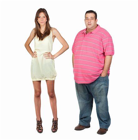 Slim girl and fat man isolated on a over white background Stock Photo - Budget Royalty-Free & Subscription, Code: 400-05910427