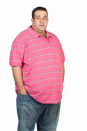 Fat man with pink shirt isolated on white background Stock Photo - Budget Royalty-Free & Subscription, Code: 400-05910431