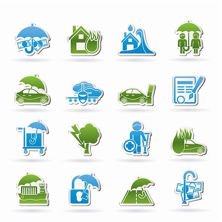 flooded homes - Insurance and risk icons - vector icon set Stock Photo - Budget Royalty-Free & Subscription, Code: 400-05910461