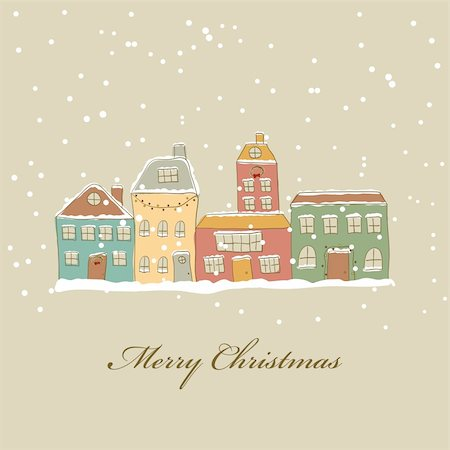 Christmas card with town and snow Stock Photo - Budget Royalty-Free & Subscription, Code: 400-05910677