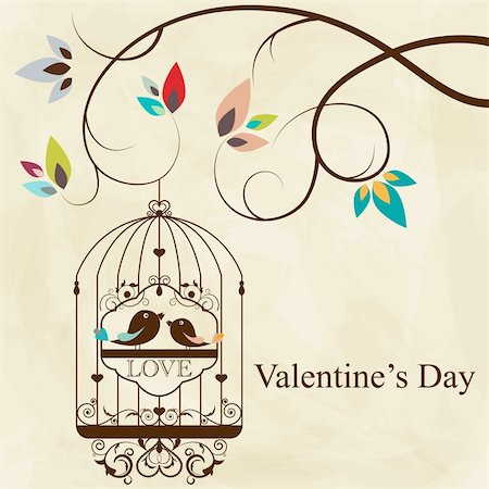 St. Valentine's day greeting card with birds Stock Photo - Budget Royalty-Free & Subscription, Code: 400-05910708