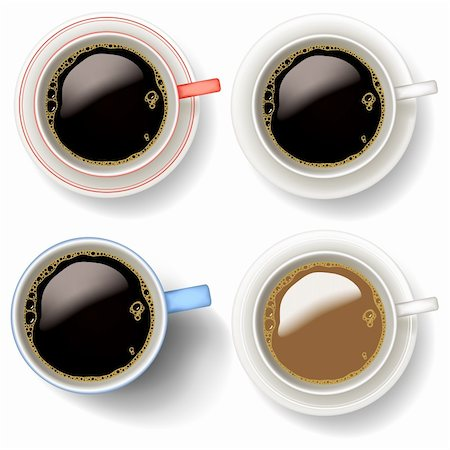 Editable vector illustrations of coffee cups and mug made using gradient meshes Stock Photo - Budget Royalty-Free & Subscription, Code: 400-05910910