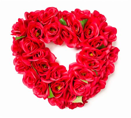 dozen roses - Heart Shaped Red Rose Arrangement on a White Background. Stock Photo - Budget Royalty-Free & Subscription, Code: 400-05910911