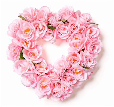 dozen roses - Heart Shaped Pink Rose Arrangement on a White Background. Stock Photo - Budget Royalty-Free & Subscription, Code: 400-05910912