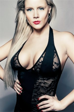 young blond girl in black lingerie with big breasts Stock Photo - Budget Royalty-Free & Subscription, Code: 400-05911050