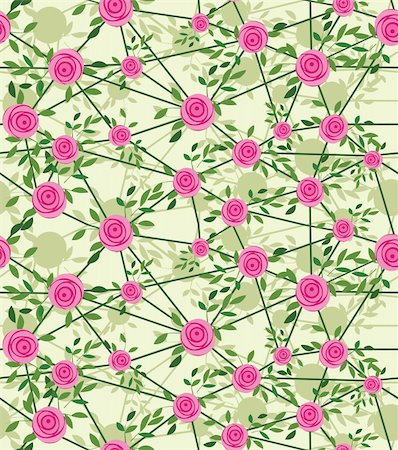 Seamless net flower background with rose and leaves, element for design, vector illustration. Stock Photo - Budget Royalty-Free & Subscription, Code: 400-05911173