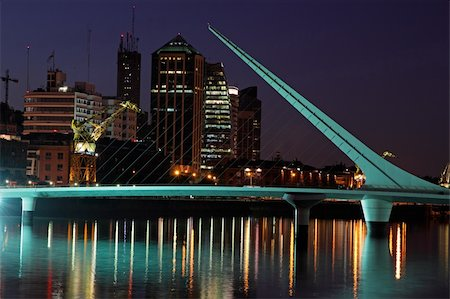 puentes - Bridge of the Woman (Puente De La Mujer) by night, Buenos Aires, Argentina Stock Photo - Budget Royalty-Free & Subscription, Code: 400-05911261