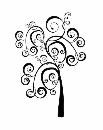 Art tree beautiful, black silhouette isolate on a white bacground Stock Photo - Budget Royalty-Free & Subscription, Code: 400-05911662