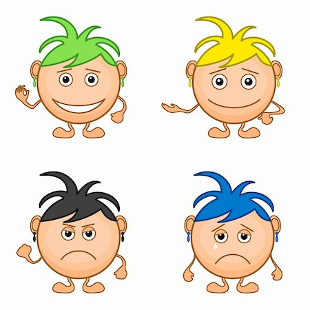 Set of smilies girls with colored hair, symbolising various human emotions. Vector Stock Photo - Budget Royalty-Free & Subscription, Code: 400-05911922