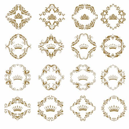 filigree - Ornate vector set. Victorian crown and decorative elements.  In vintage style. Stock Photo - Budget Royalty-Free & Subscription, Code: 400-05911970