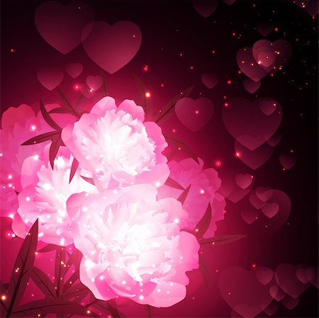 peony illustrations - peony flowers over holiday background with hearts Stock Photo - Budget Royalty-Free & Subscription, Code: 400-05912073