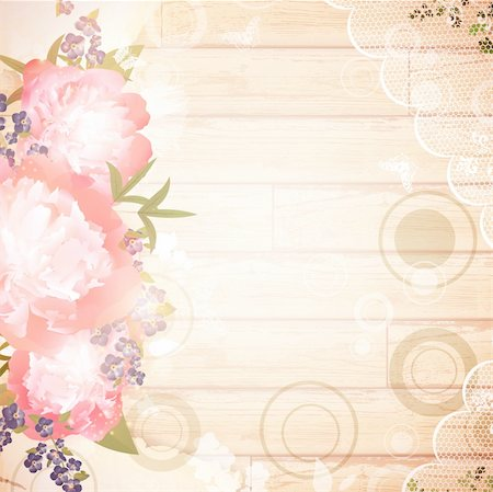peony design vector - Vintage wooden background with floral decoration and lace frame Stock Photo - Budget Royalty-Free & Subscription, Code: 400-05912080