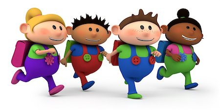 students learning cartoon - cute multi-ethnic kids running - way to school - high quality 3d illustration Stock Photo - Budget Royalty-Free & Subscription, Code: 400-05912279