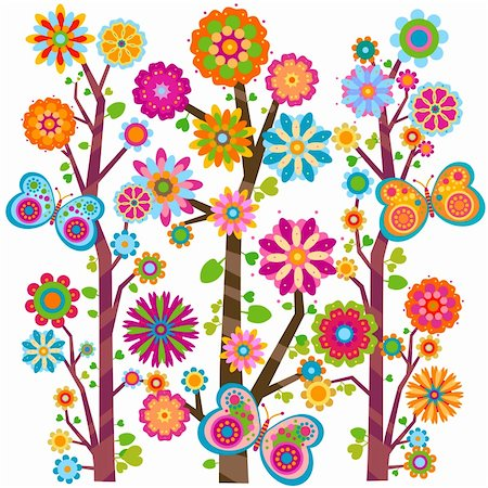 sweet floral tree and butterflies Stock Photo - Budget Royalty-Free & Subscription, Code: 400-05913233