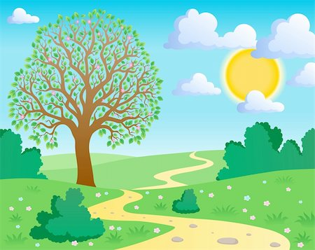 Spring theme landscape 1 - vector illustration. Stock Photo - Budget Royalty-Free & Subscription, Code: 400-05913715
