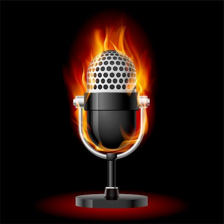 Microphone in Fire. Illustration on black background fore design Stock Photo - Budget Royalty-Free & Subscription, Code: 400-05913846
