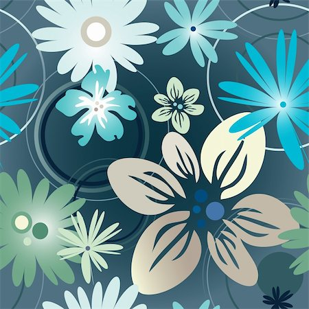 Vector illustration floral pattern in blue Stock Photo - Budget Royalty-Free & Subscription, Code: 400-05924004