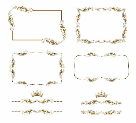 Vector set of decorative horizontal elements, border, frame. Page decoration. Stock Photo - Budget Royalty-Free & Subscription, Code: 400-05926789